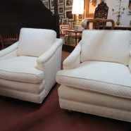 Vintage mid-century pair of custom-made Mike Bell chairs – $395