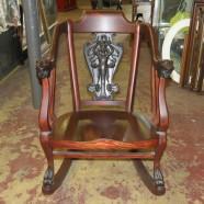 Vintage antique mahogany Art Nouveau Rocker – $695