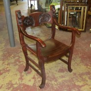 Vintage antique carved mahogany Art Nouveau Chair – $425