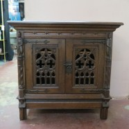 Vintage antique carved mahogany Gothic 2 door cabinet – $895