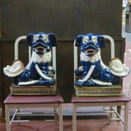 Pair of Vintage ceramic Chinese foo dogs – $495