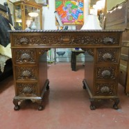 Vintage Antique carved walnut Desk with ball and claw feet – $1250