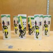 Black Americana set of 6 glasses african art – $65