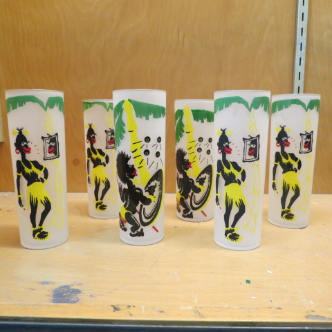 Black Americana set of 6 glasses african art – $65