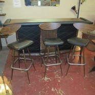Vintage Mid-century Modern Bar and 3 Barstools – $595