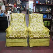 Fabulous! Vintage chartreuse velvet lounge chairs – $295