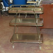 Vintage 3 tier faux mahogany Bar Cart – $75