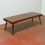 Vintage mid-century mahogany laminate top coffee table – $38