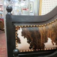 SALE! Vintage king size cowhide dark stained wood bed – now $700, was $895