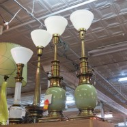 SALE! Vintage mid-century pair of green table lamps – now $125, was $195