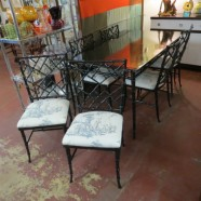 Vintage antique black lacquer Chinese chippendale dining set – $845