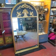 Vintage Neoclassical style gilt and black large mirror – $495