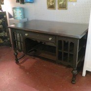 Vintage antique Victorian walnut Jacobean desk – $235