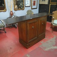 Vintage antique 2 door slide top mahogany bar – $295