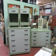 Vintage antique 5 piece green 2 tone steel bedroom set – $1085