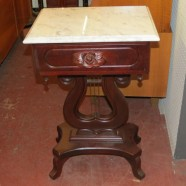 SALE! Vintage antique marble top mahogany lyre side table – now $200, was $250.