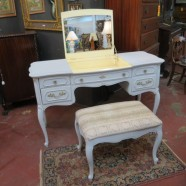 Vintage antique French style Louis XV painted vanity and bench-$495