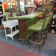 Vintage mid-century modern bar with 3 stools-$425