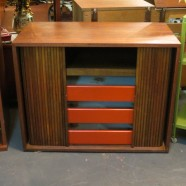 vintage mid-century modern walnut cabinet small credenza-now $295, was $395