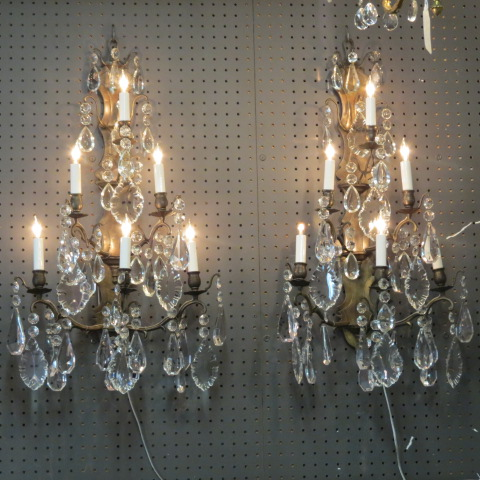 Vintage antique pair of large crystal and brass 6 light sconces-$1400 for the pair