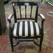 Vintage antique black lacquer arrow arm chair-$190