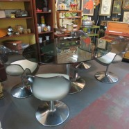 Vintage mid-century modern smoked/lucite glass dining set-$795