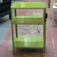 Vintage mid-century modern green metal bar cart with electric outlets-$35!