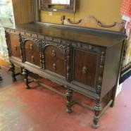 Vintage antique walnut Jacobean style credenza/buffet-$550