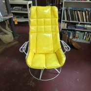 vintage mid-century modern Homecrest iron yellow rocker chair – $295