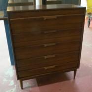 Vintage mid century modern Lane walnut 5 drawer chest/dresser-$695