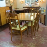 Vintage mid century modern walnut dining table and 6 chairs-$695