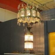 Vintage antique over the top crystal and brass lamp-$425