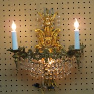 Vintage antique pair of crystal and gilt metal sconces-$475
