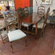 Vintage mid-century modern rustic dining set with 6 chairs-$895
