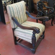 SALE! Vintage antique Victorian carved oak lions head arm chair- $395