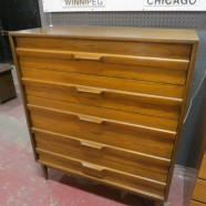 SALE! Vintage mid century modern Red Lion Co walnut 5 drawer chest/dresser- Now $575, originally $695