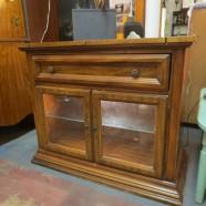 vintage mid-century modern walnut bar – $169