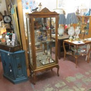 vintage antique walnut French style vitrine display case – $595