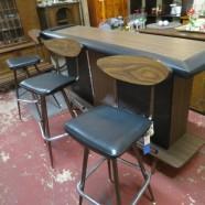 vintage mid-century modern bar & 3 stools – $595