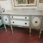 vintage antique painted mahogany Sheridan style buffet/credenza – $425