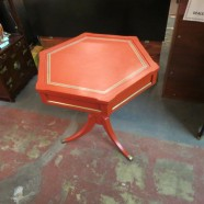 vintage antique painted red hexagon side table – $125