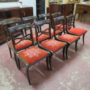 Vintage antique set of 6 mahogany dining chairs-$795