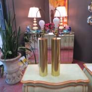 Vintage mid-century modern brass cylinder lamps – $295