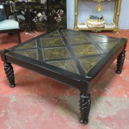 Vintage large square wood coffee table – $350