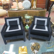 Vintage mid-century modern glamorous black velvet armchairs – $895