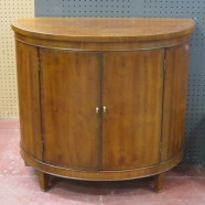 Vintage antique demilune fruitwood console cabinet-$295