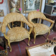 Vintage antique pair of French velvet armchairs-$150