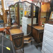 Vintage antique walnut vanity with trifold mirror-$350
