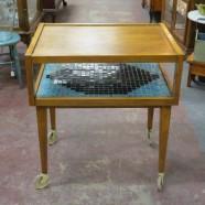 Vintage mid-century modern 2 tier walnut bar cart-$115