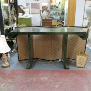 Vintage mid-century modern Baker faux malachite Chinese style console table-$589